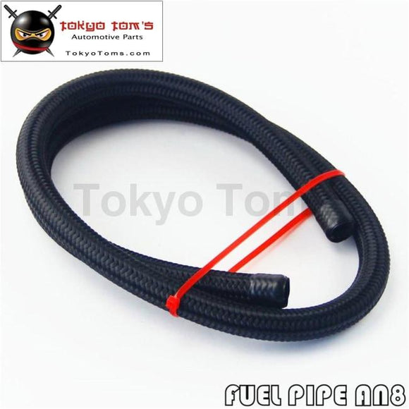 1 Meter 3 Foot An8 Nylon Stainless Steel Braided Fuel Oil Gas Line Hose -8An 1500Psi