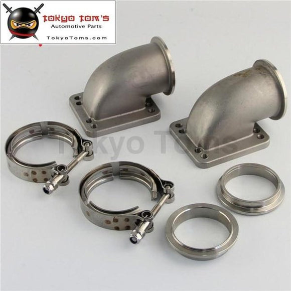 1 Pair 2.5 Vband 90 Degree Cast Ss Elbow Adapter Flange + Clamp For T3 T4 Turbo Turbocharger