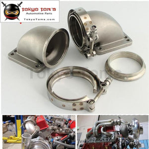 1 Pair 3 Vband 90 Degree Cast Ss Elbow Adapter Flange + Clamps For T3 T4 Turbo Turbocharger Aluminum