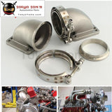 "1 Pair 3"" Vband 90 Degree Cast Ss Elbow Adapter Flange + Clamps For T3 T4 Turbo Turbocharger"