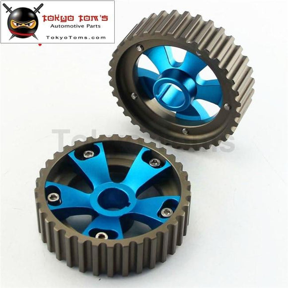 1 Pair Adjustable Cam Gears Pulley Kit Fits For Honda Civic Acura B16A B16B Dohc Blue