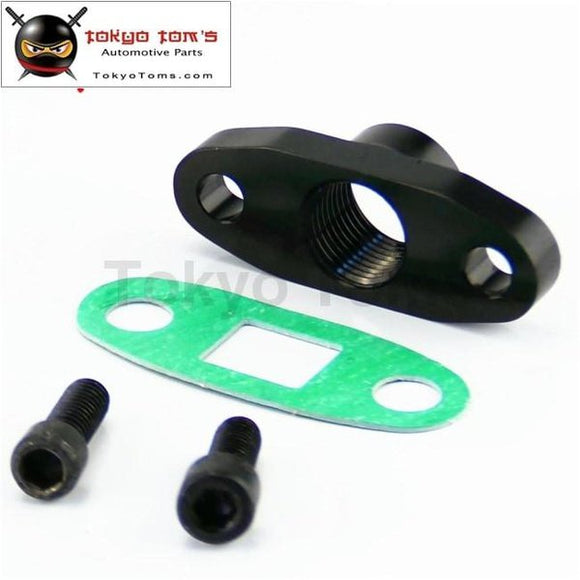 1 Pcs 1/2 Npt T3 T4 Female Turbo Oil Drain Outlet Flange Gasket Adapter Black/silver