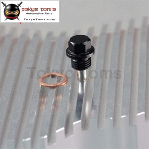 1 Pcs Engine Magnetic Oil Pan Drain Plug Bolt Anodized Crush Washer M14 X 1.5 Black