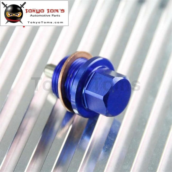 1 Pcs Engine Magnetic Oil Pan Drain Plug Bolt Anodized Crush Washer M20 X 1.5 Blue