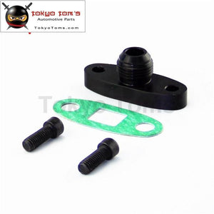 1 Pcs Turbo Oil Drain Outlet Flange Gasket Adapter Kit 10An Male Fitting T3 T4 Black/silver