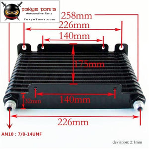 10-An 32Mm 13 Row Engine/transmission Racing Coated Aluminum Oil Cooler Black Oil Cooler