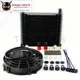 10-An 32Mm Aluminum 15 Row Engine/transmission Racing Oil Cooler+7 Electric Fan Kit W/ Fittings