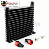 10-An 32Mm Aluminum 15 Row Engine/transmission Racing Oil Cooler W/ Fittings Black