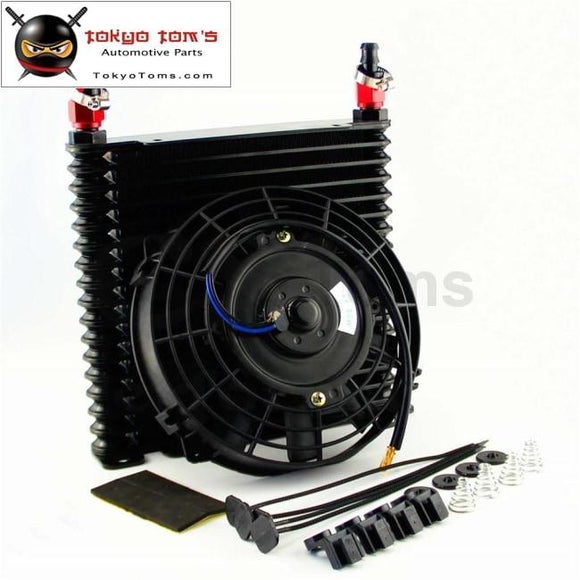 10-An 32Mm Aluminum 17 Row Engine/transmission Racing Oil Cooler+7 Electric Fan Kit W/ Fittings