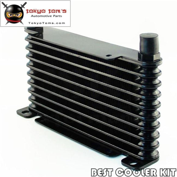 10-An 32Mm 10 Row Engine/transmission Racing Coated Aluminum Oil Cooler Black Oil Cooler