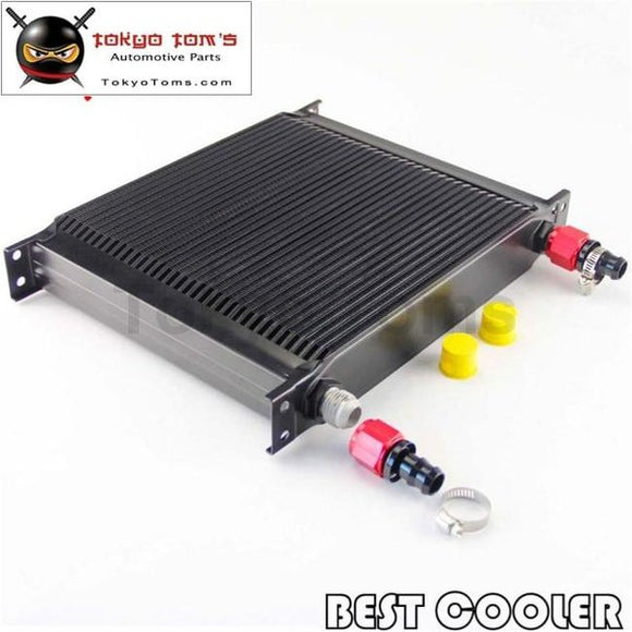 10-An Universal 34 Row Aluminum Engine Transmissio Oil Cooler + Fitting