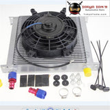 "10-An Universal 34 Row Engine Oil Cooler With Fittings + 7"" Electric Fan Kit Sl"