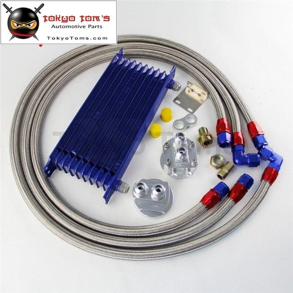 10 Row 262Mm An10 Universal Engine Transmission Oil Cooler Trust Type + Filter Adapter Kit