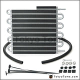 10 Row Black Aluminum Remote Transmission Oil Cooler/auto-Manual Radiator Converter Kit Cooler