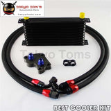 10 Row Engine Oil Cooler Kit For Bmw Mini Cooper S Supercharger R53 Black