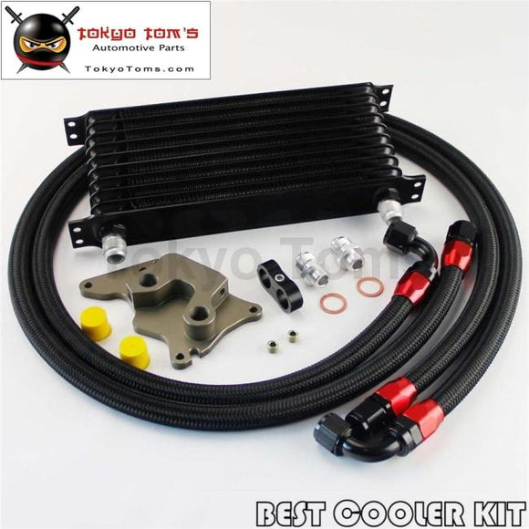 10 Row Engine Oil Cooler Kit For Bmw Mini Cooper S Supercharger R56 Black
