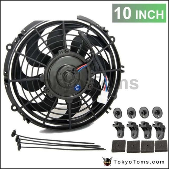 10 Universal 12 V 70W Slim Pull Push Racing Electric Radiator Engine Cooling Fan