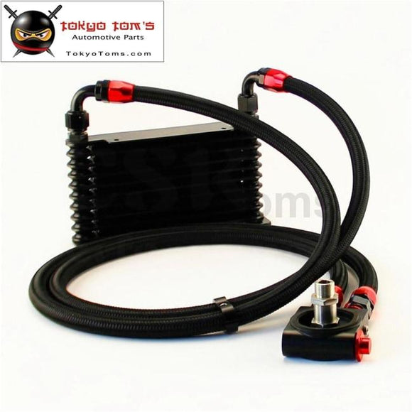 10An 32Mm 10 Rows Universal Engine Oil Cooler+Thermostat Sandwich Plate Cooler