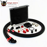 10An 32Mm 15 Rows Universal Engine Oil Cooler+73 Degree Thermostat Sandwich Plate Kit Cooler