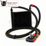 10An 32mm 15 Rows Universal Engine Oil Cooler+73 Degree Thermostat Sandwich Plate Kit