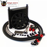 10An 32Mm 17 Rows Universal Engine Oil Cooler+73 Degree Thermostat Sandwich Plate Kit +7 Electric