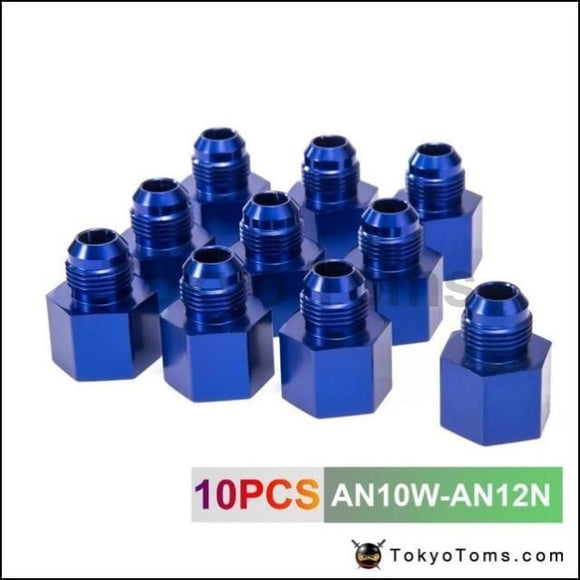 10Pcs Blue Aluminum Fuel Fitting Adapter Straight Female > Male Flare Reducer -12An-10An An10W-An12N