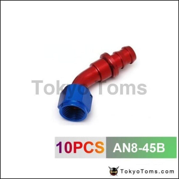 10Pcs /set 45 Degree An-8 Hose End Fitting Aluminum Oil Cooler Hose Fitting Oil Fuel An8-45B Cooler