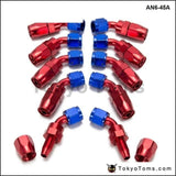 10Pcs /set 45 Degree An6 Aluminum Oil Cooler Hose Fitting Fuel Push-On End Fittings Adaptor An6-45A