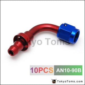 10Pcs /set 90Degree High Performance An-10 Hose End Fitting Aluminum Oil Cooler Hose Fitting