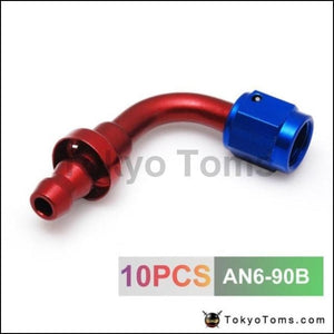 10Pcs /set 90Degree High Performance An-6 Hose End Fitting Aluminum Oil Cooler Hose Fitting An6-90B