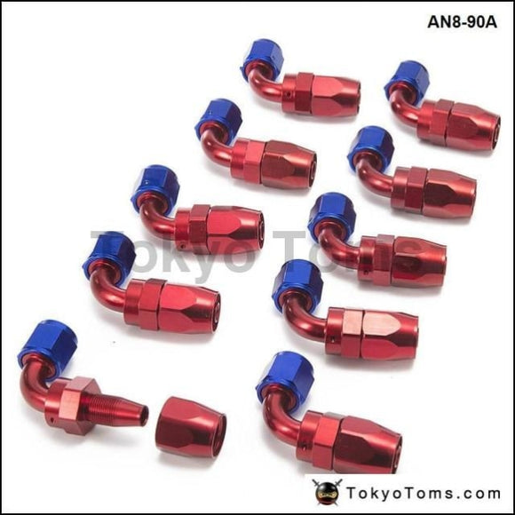 10Pcs /set 90Degree High Performance An8 Hose End Fitting Aluminum Oil Cooler Hose Fitting An8-90A