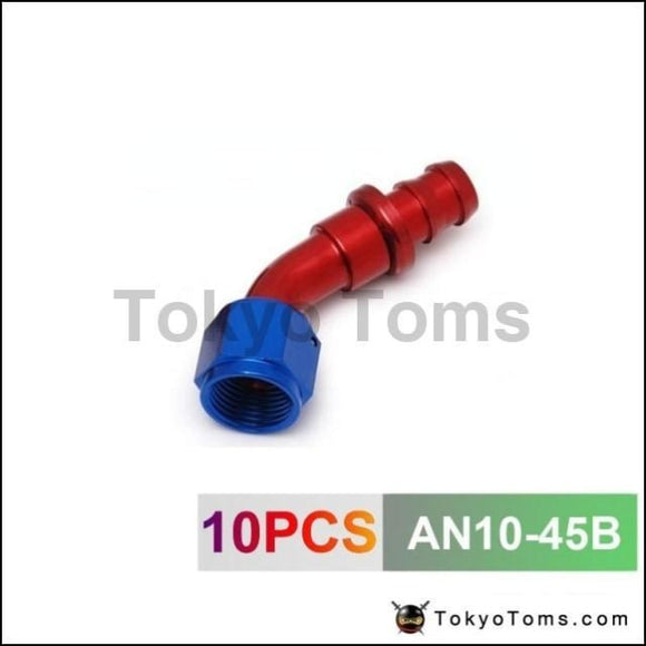 10Pcs /set -An10 45 Degree Aluminum Swivel Oil/fuel/air/gas Line Hose End Fitting Blue An10-45B Oil