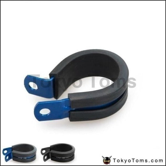 10Pcs X Aluminum Rubber Lined Cushioned P Clamp Id 14.3Mm An6 Ss Hose Black/blue Oil Cooler