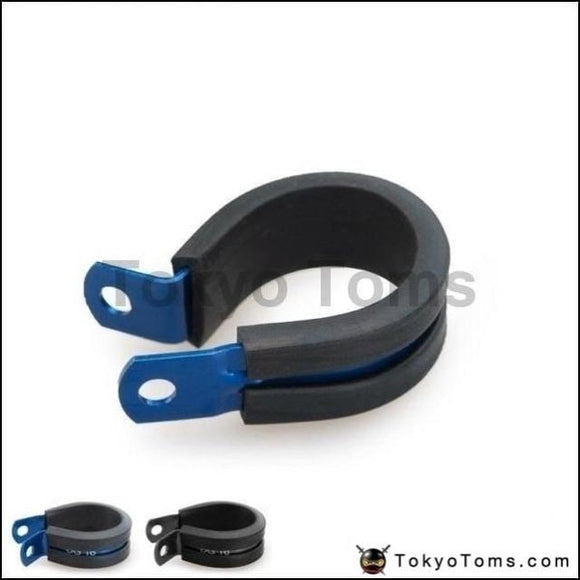 10Pcs X Aluminum Rubber Lined Cushioned P Clamp Id 25.4Mm An12 Ss Hose (Black/blue ) Oil Cooler