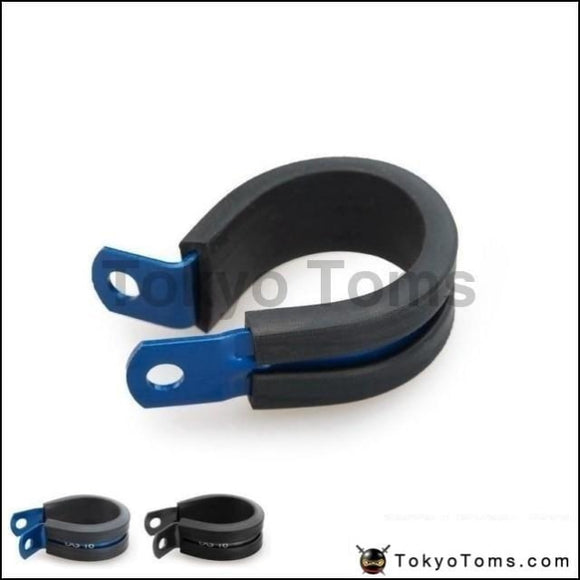 10Pcs X An3 An4 9.5Mm I.d Blue/black Aluminium Rubber Lined Cushioned P Clamp / Clip Oil Cooler