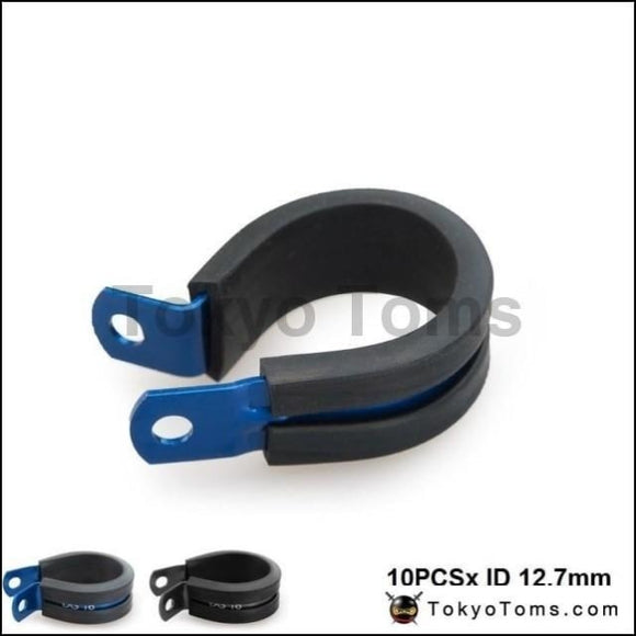 10Pcs X Id 12.7Mm (Color:blue Black) Aluminium Rubber Lined Cushioned P Clamp Clip Oil Cooler
