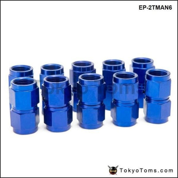 10Pcs/set Blue An6 Universal Fuel Oil Fitting Aluminum Hose End Adaptor 2 Side Female Cooler