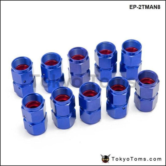 10Pcs/set Blue An8 Universal Swivel Oil Fuel Line Hose End 2-Side Female Fitting Cooler