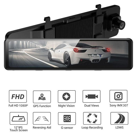 12 inch Camera GPS full screen touch dual HD1080P Mirror car