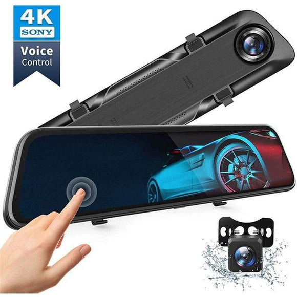 12-inch full touch screen car DVR Hisilicon 4K UHD driving