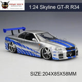 1:24 Model Car Skyline Gt-R Gtr R34 Metal Vehicle Play Collectible Models Sport Cars Toys For Gift