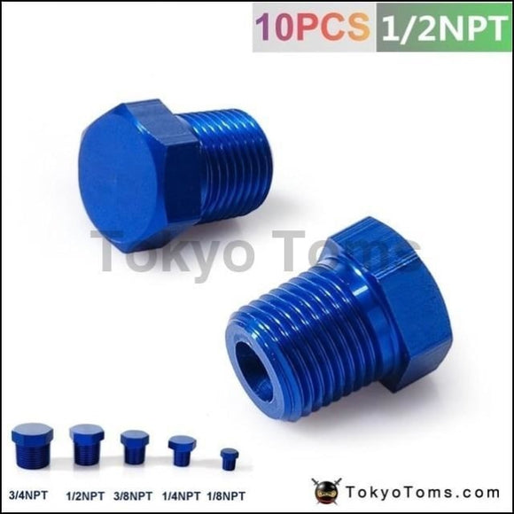1/2Npt Aluminum Hex Head Male Port Plug Block Off Fitting Adapter Blue Tk-Ft12Npt Oil Cooler