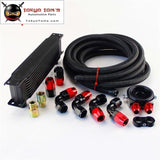 13 Row 248mm AN10 Universal Engine Oil Cooler British Type+M20Xp1.5 / 3/4 X 16 Filter Relocation+3M AN10 Oil Line Kit  Black