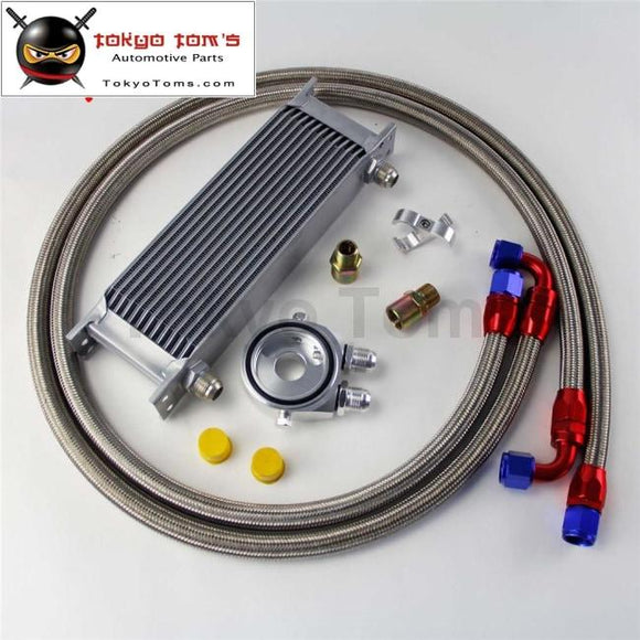 13 Row 248Mm An10 Universal Engine Transmission Oil Cooler British Type + Aluminum Filter Hose End