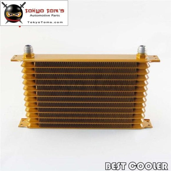 13 Row Aluminum 10An Turbo Engine Transmission Oil Cooler Fit Universal Gold