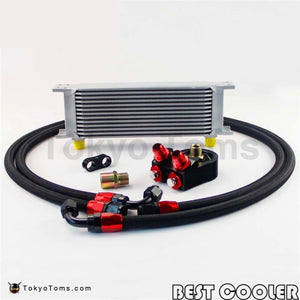 13 Row AN-8AN Universal Engine Oil Cooler Kit + Filter Adapter Hose End Kit