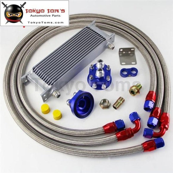 13 Row An10 Universal Engine Transmission Oil Cooler British Type + Filter Adapter Kit Silver/blue