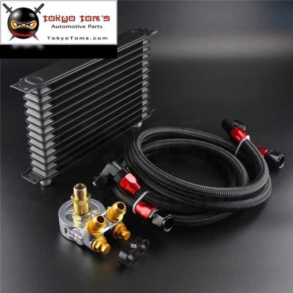 13 Row Engine Trust Oil Cooler W/ Thermostat 80 Deg / 170 F Filter Adapter Kit Blue/ Black/ Gold Csk