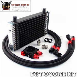 13 Row Trust Oil Cooler M20 / 3/4X16 Filter Thermostat Sandwich Plate Kit