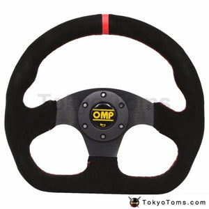 13Inch Red Omp Flat Suede Leather Drift Sport Steering Wheels